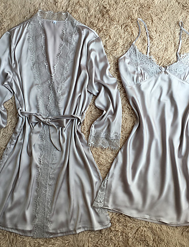Women's Suits Satin & Silk Robes Nightwear - Lace, Solid Colored
