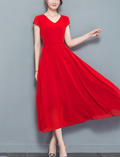 Women's Work / Going out Street chic Sheath / Chiffon Dress - Solid Colored V Neck