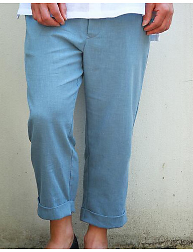 Men's Mid Rise Inelastic Chinos Pants,Simple Loose Solid