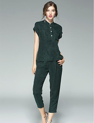 Women's Daily Casual Spring Summer Shirt Pant SuitsPlaid/Check Round Neck  Sleeve Micro-elastic