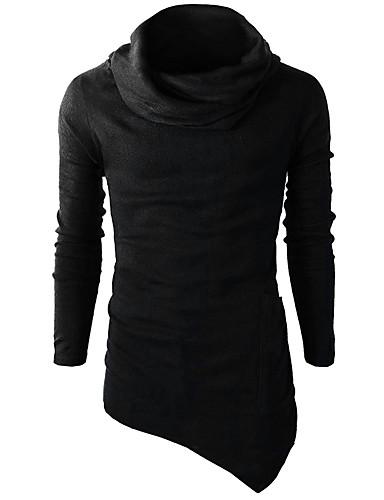 Men's Active Long Sleeves Slim Sweatshirt - Solid Colored Turtleneck
