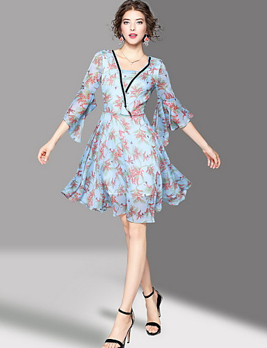 Women's Going out Cute Swing Knee-length Dress,Print Square Neck 3/4 Length Sleeves Summer