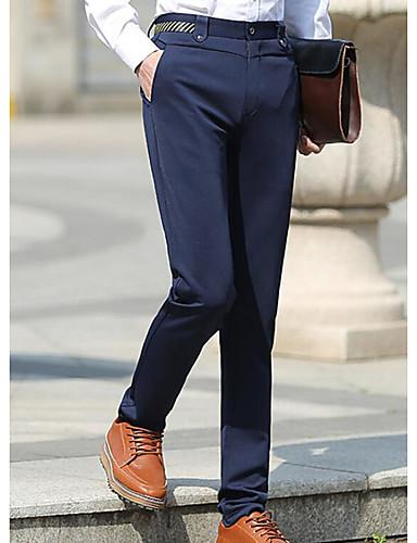 Men's Medium Waist Micro-elastic Suit Pants,Simple Relaxed Solid