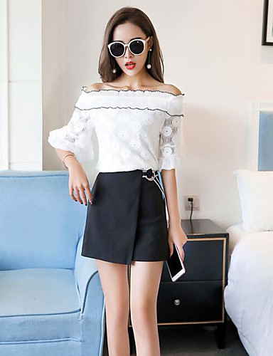 Women's Daily Casual Summer Blouse Skirt Suits,Solid Off Shoulder Sleeveless 100% Cotton