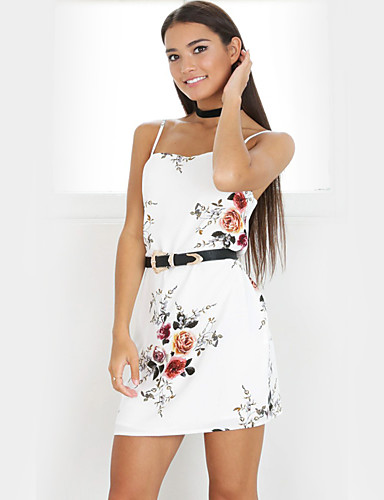Women's Going out Bodycon / Sheath Dress - Floral Strap / Slim