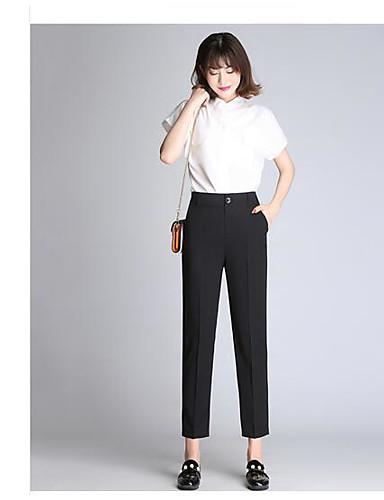 Women's Medium Waist Micro-elastic Culotte Pants,Simple Straight Solid