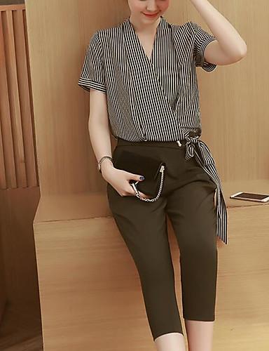 Dame Stripet Moderne / Nutidig Bukse Normal, Daglig Kortermet V-hals Sommer