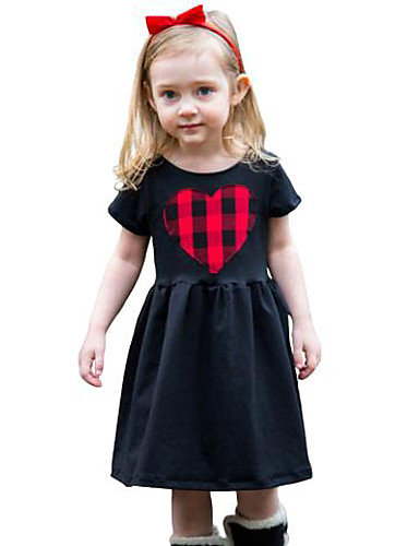 Girl's Solid Dress,Cotton Spring Summer Short Sleeve Check Black