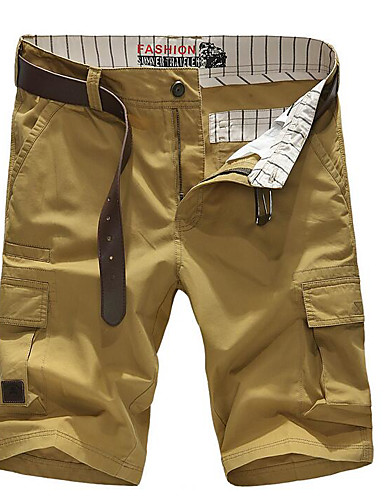 Men's Mid Rise Micro-elastic Shorts Pants,Simple Active Straight Solid