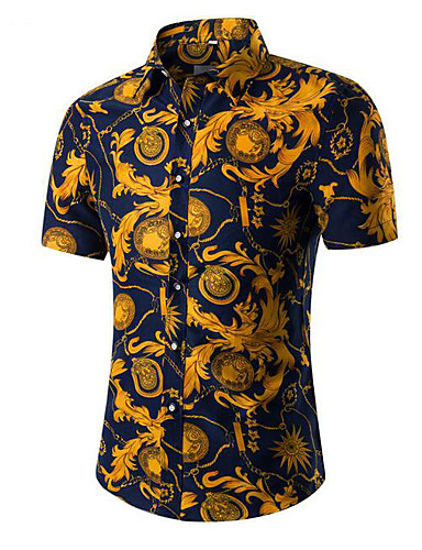 cheap Men's Summer Shirts-Men's Daily Vintage Cotton Shirt - Floral / Tribal Classic Collar Gray / Short Sleeve / Summer
