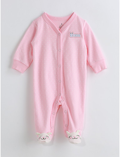 Baby Girls' One-Pieces, Cotton Spring/Fall Long Sleeves Blushing Pink