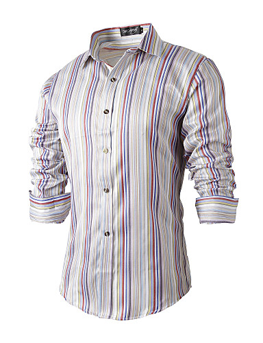 Men's Wedding / Party / Daily Casual / Boho / Chinoiserie Cotton / Polyester Shirt - Striped / Color Block / Sports / Long Sleeve / Work
