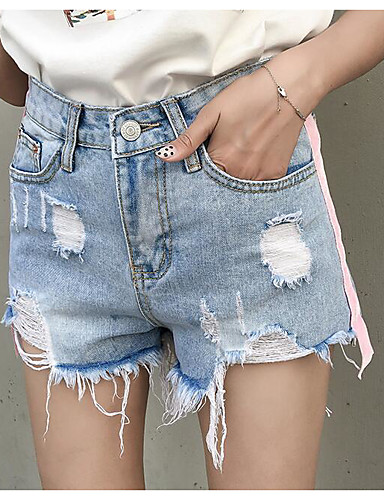 Women's Denim Straight / Shorts Pants - Solid Colored High Waist / Summer / Going out
