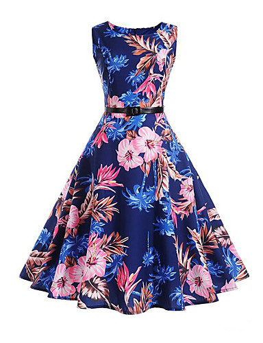 Women's Work Holiday Vintage Casual Cotton Sheath Swing Dress - Floral High Rise