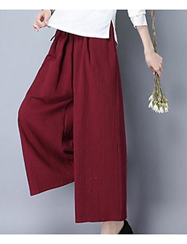 Women's Mid Rise Micro-elastic Wide Leg Pants,Chinoiserie Wide Leg Rivet Solid