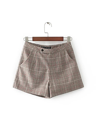 Women's Mid Rise strenchy Chinos Shorts Pants,Street chic Relaxed Wide Leg Pure Color Houndstooth Plaid/Check