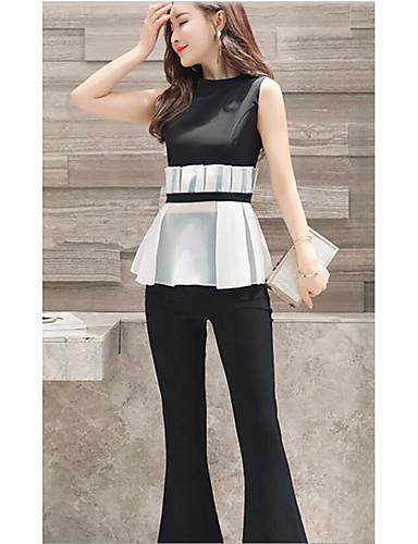 low priced 55b25 095ee [$31.67] Maglietta Pantalone Completi abbigliamento Da donna Da sera  Quotidiano Arruffato Estate,Tinta unita Rotonda Senza maniche