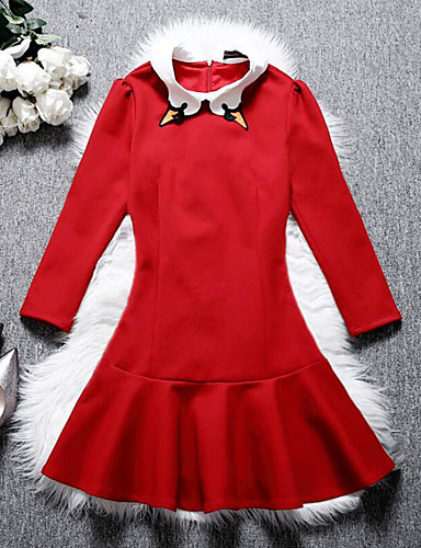 Women's Going out A Line Dress,Solid Shirt Collar Above Knee Long Sleeves Cotton Fall High Rise Inelastic Medium