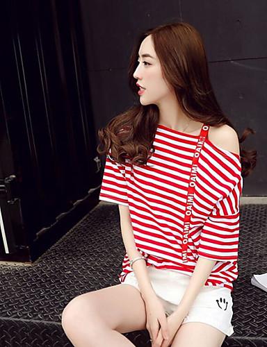 Bomull / nylon med et snev av strekningen Enskuldret T-skjorte Bukse Drakter Stripet Sommer Moderne Daglig Avslappet Dame