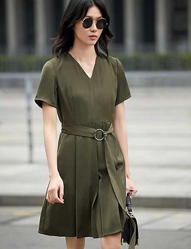 Damen A-Linie Kleid-Lässig/Alltäglich Solide V-Ausschnitt Knielang Kurzarm Baumwolle Sommer Mittlere Hüfthöhe Mikro-elastisch Dünn