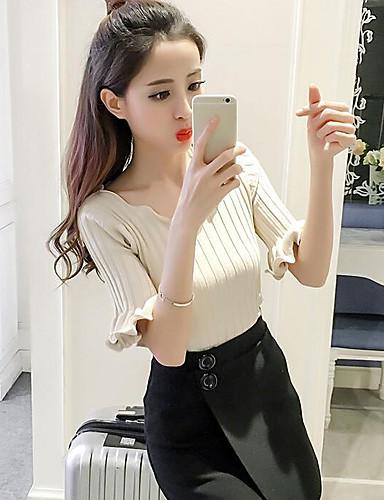 Damen Kurz Pullover-Lässig/Alltäglich Solide V-Ausschnitt Halbe Ärmel Baumwolle Frühling Mittel Mikro-elastisch