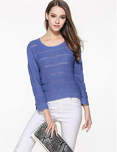 Damen Kurz Pullover-Ausgehen Lässig/Alltäglich Einfach Niedlich Solide Rundhalsausschnitt 3/4 Ärmel Baumwolle Herbst Mittel