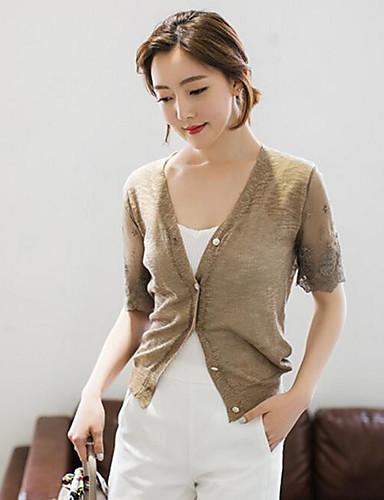 Damen Standard Strickjacke-Lässig/Alltäglich Einfach Solide V-Ausschnitt Kurzarm Baumwolle Frühling Herbst Mittel Mikro-elastisch