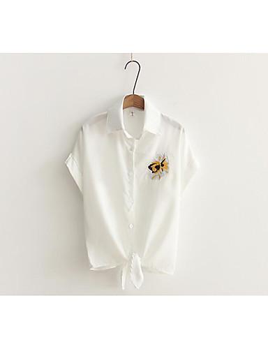Damen Stickerei - Niedlich Baumwolle Hemd, Hemdkragen
