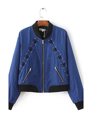 Damen Solide Einfach Sport Ausgehen Lässig/Alltäglich Jacke,Ständer Frühling Herbst Langärmelige Standard Andere