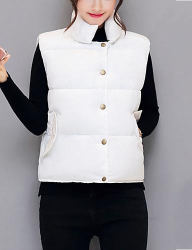 Damen Gefüttert Mantel,Kurz Einfach Niedlich Ausgehen Lässig/Alltäglich Solide-Nylon Polypropylen Ärmellos