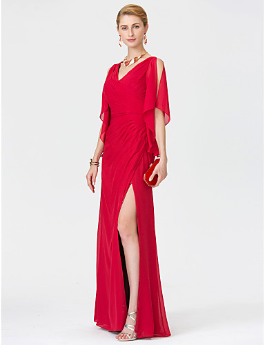 Sheath / Column V Neck Floor Length Chiffon Mother of the Bride Dress with Criss Cross Split Front by LAN TING BRIDE®
