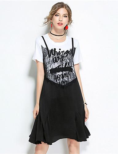 Damen Hülle Spitze Kleid-Lässig/Alltäglich Solide Druck Rundhalsausschnitt Knielang Kurzarm Baumwolle Sommer Mittlere Hüfthöhe
