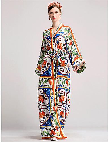 Damen Hülle Swing Kleid-Lässig/Alltäglich Blumen V-Ausschnitt Maxi Langarm Seide Herbst Mittlere Hüfthöhe Mikro-elastisch Mittel
