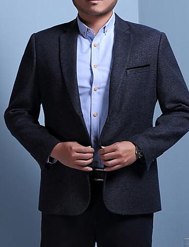 Herren Solide Einfach Lässig/Alltäglich Blazer,Ständer Herbst Langärmelige Standard Baumwolle