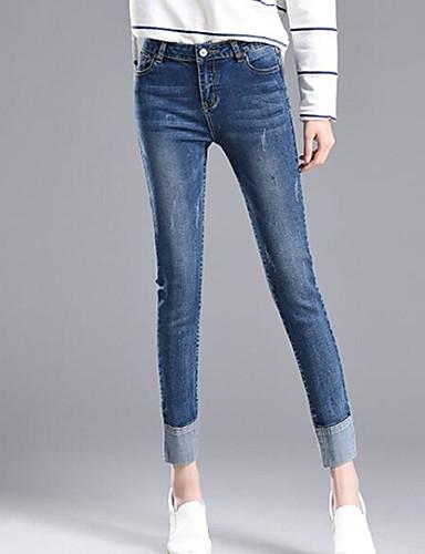 Damen Einfach Mittlere Hüfthöhe Mikro-elastisch Jeans Skinny Hose Solide