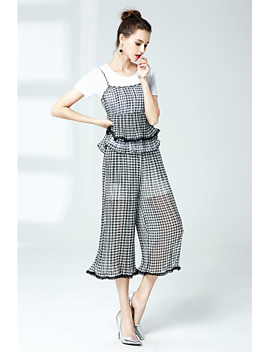 Women's Going out Street chic T-shirt - Plaid / Check Pant