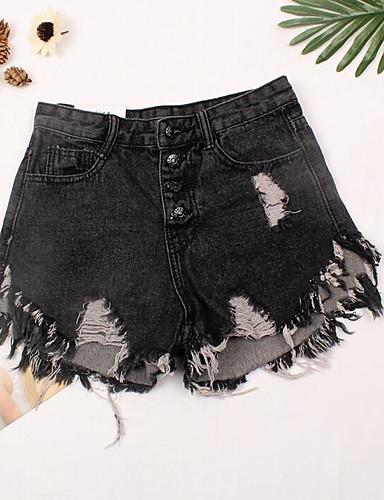 Damen Sexy Hohe Hüfthöhe Mikro-elastisch Jeans Kurze Hosen Schlank Hose Solide