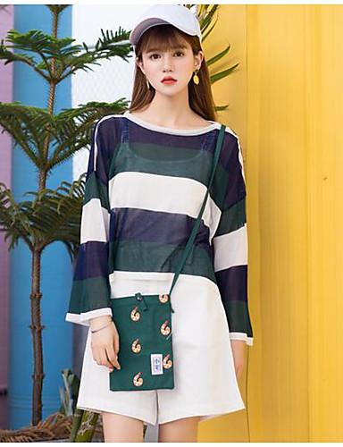 Damen Standard Pullover-Strand Einfarbig Rundhalsausschnitt Langarm Andere Frühling Sommer Mittel Mikro-elastisch