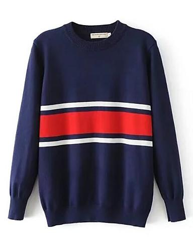Damen Standard Pullover-Ausgehen Lässig/Alltäglich Street Schick Gestreift Rundhalsausschnitt Langarm Baumwolle Elasthan Herbst Mittel