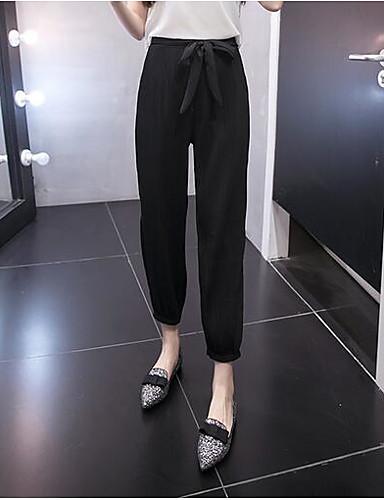 Damen Einfach Hohe Hüfthöhe Mikro-elastisch Chinos Lose Hose Solide