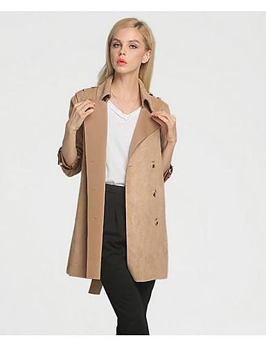 Damen Solide Einfach Arbeit Trench Coat,Gekerbtes Revers Herbst Lange Ärmel Lang Polyester