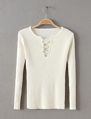 Damen Standard Pullover-Ausgehen Lässig/Alltäglich Einfach Solide Rundhalsausschnitt Langarm Baumwolle Elasthan Frühling Herbst Dünn