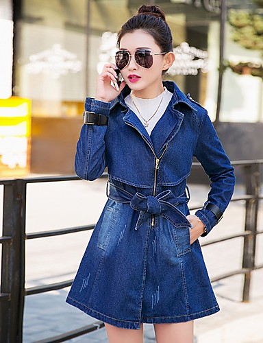 Women's Long Cotton Denim Jacket - Solid Colored Square Neck