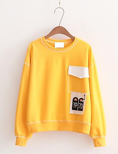 Damen Pullover Ausgehen Lässig/Alltäglich Einfach Niedlich Aktiv Solide Druck Rundhalsausschnitt Mikro-elastisch Baumwolle Langärmelige