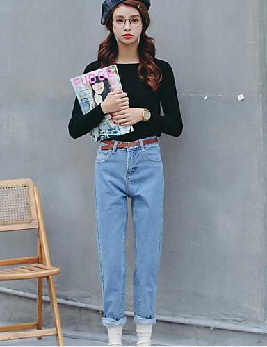 Damen Einfach Hohe Hüfthöhe Mikro-elastisch Haremshosen Jeans Hose,Baumwolle Winter Solide