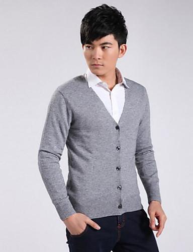 Herren Standard Strickjacke-Lässig/Alltäglich Solide V-Ausschnitt Langarm Wolle Herbst Winter Mittel Mikro-elastisch