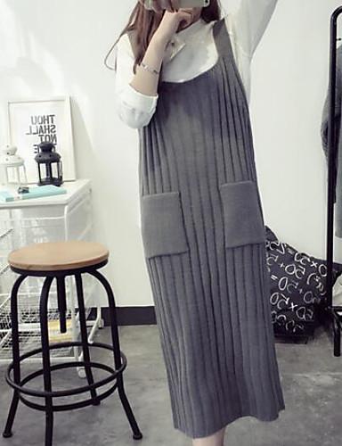 Damen Etuikleid Kleid-Lässig/Alltäglich Solide Gurt Midi Ärmellos Baumwolle Leinen Herbst Mittlere Hüfthöhe Mikro-elastisch Mittel