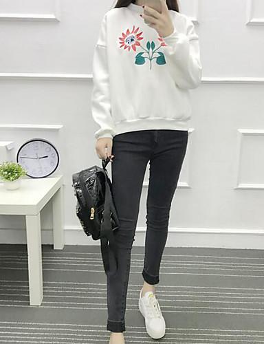 Damen Pullover Ausgehen Einfach Druck Rundhalsausschnitt Mikro-elastisch Polyester ¾ Ärmel Herbst Winter