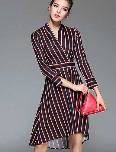 Damen Hülle Kleid-Ausgehen Gestreift V-Ausschnitt Übers Knie Langarm Polyester Sommer Mittlere Hüfthöhe Mikro-elastisch Mittel
