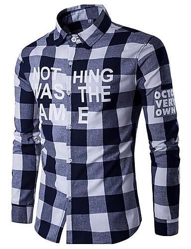 Herren Solide Gestreift Geometrisch Aktiv Ausgehen Hemd,Hemdkragen Langarm Baumwolle Leinen Polyester